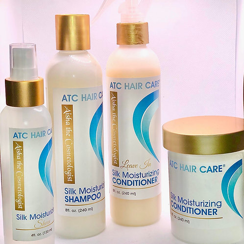 Silk Moisturizing Shampoo,  Conditioner, Leave in Conditioner and Sheen Bundle