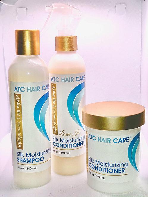ATC Silk Moisturizing Shampoo, Leave-In Conditioner, Regular  Conditioner Bundle