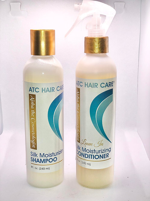 ATC Silk Moisturizing Shampoo and  Moisturizing Leave in Conditioner Bundle