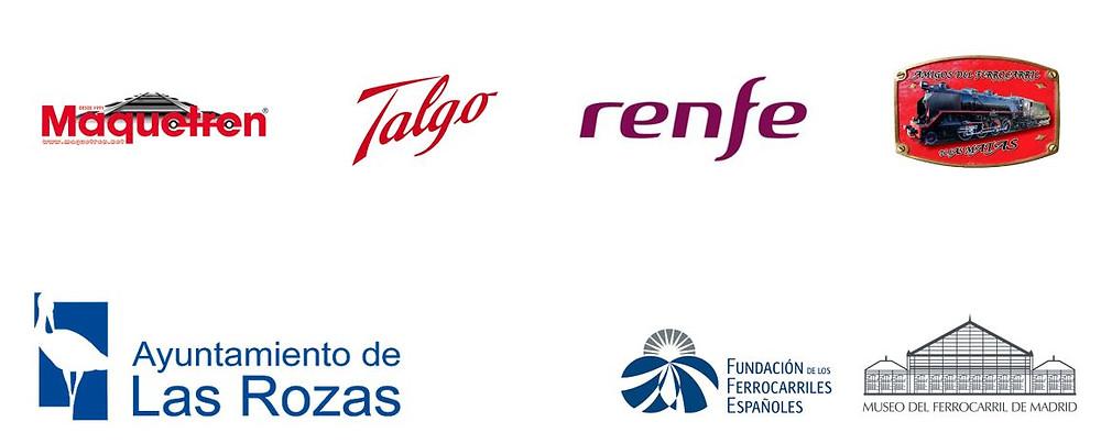 Logo Ayuntamiento de Las Rozas, Afemat, Maquetren, Talgo, Renfe Museo del Ferrocarril de Madrid y Fundación Ferrocarriles Españoles