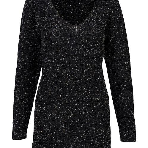 Blusa Decote V Fio Tweed