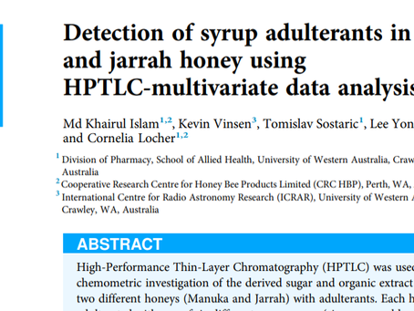 A great publication on detection of adulterants in Manuka and Jarrah Honey using Multivariate HPTLC