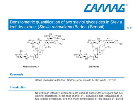Densitometric quantification of two steviol glycosides in Stevia leaf dry extract by HPTLC