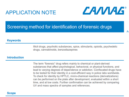CAMAG latest HPTLC application note: Screening method for identification of forensic drugs