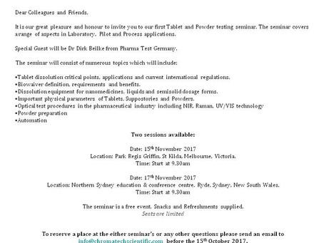 Tablet and Powder testing seminar, PHARMA TEST Australia/ Chromatech Scientific.