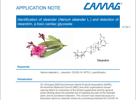 HPTLC Identification of oleander and detection of oleandrin, a cardiac glycoside