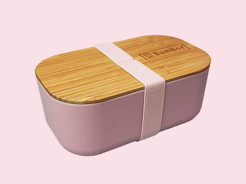 Pink Microwaveable Bamboo Lunch Box