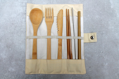 Bamboo Cutlery Set -White