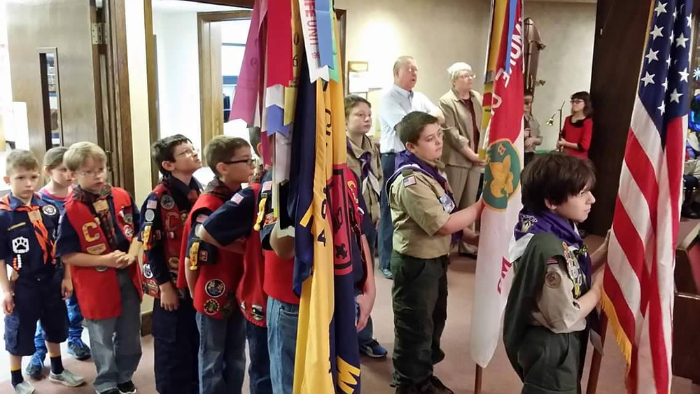 Boy Scouts at Scout Sunday in Raymore, MO