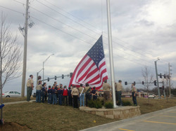 Raising the flag at Golden Corral