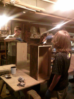 Staining the camp boxes