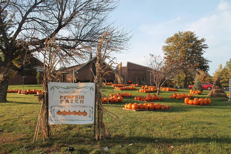 Pumpkin Patch display outside of Raymore Christian Church