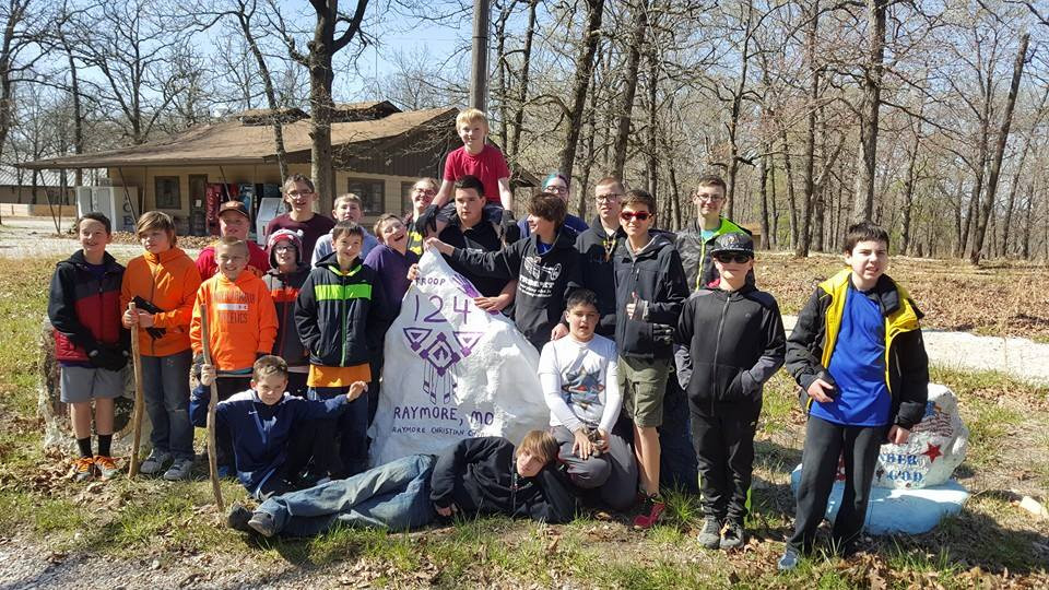 Troop and Crew 124 at Troop 124's rock in Sawmill.