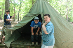 Setting up tents at Bartle