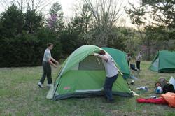 Setting up tents at Camp Naish