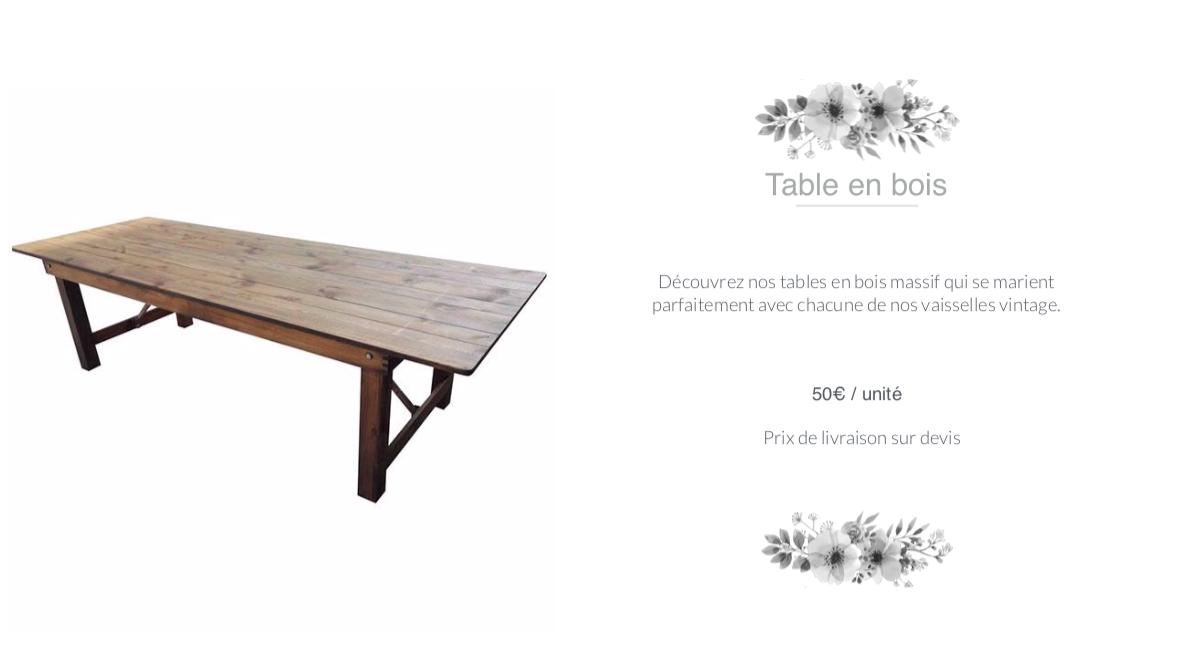 table en bois en location