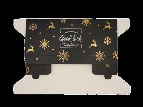 กล่องใส่ขนมสีดำsnow flake 5ใบ22x9cm สูง4.5 cm