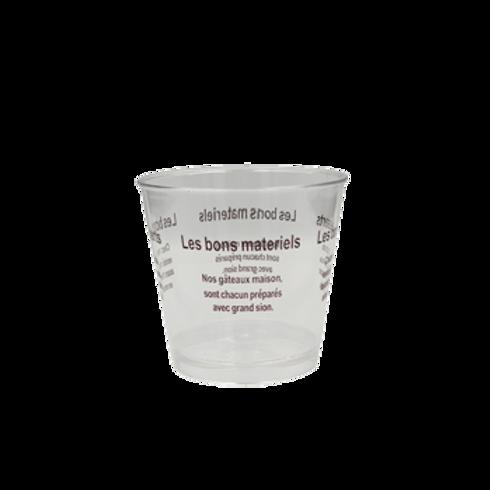 แก้วมูสใส อักษร10 ใบ ปาก  7.5cmก้น5.5cm สูง7cm