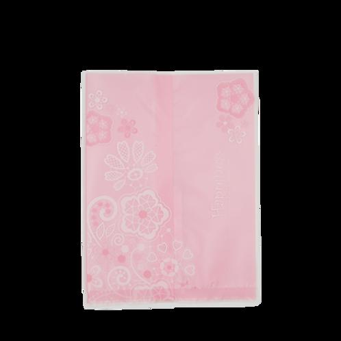ถุงใส่คุกกี้แบบบางลายชมพูดอกไม้ 14.5x11 cm 50 ใบ