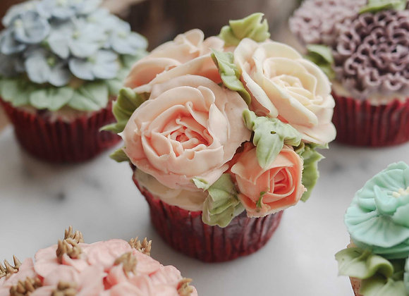 Korean flower piping cupcake 22/12