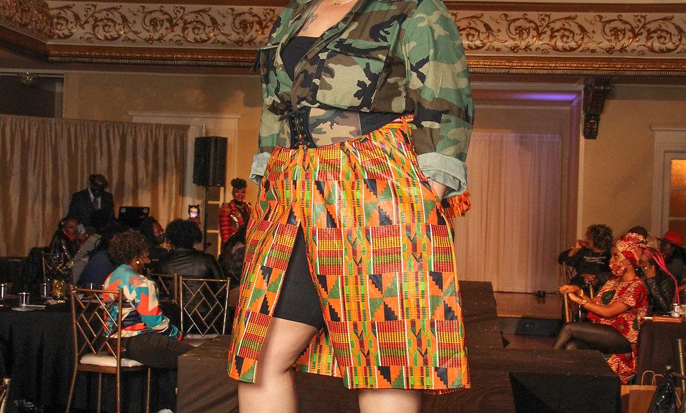 Afrikan Fatigue Dress w/Headwrap