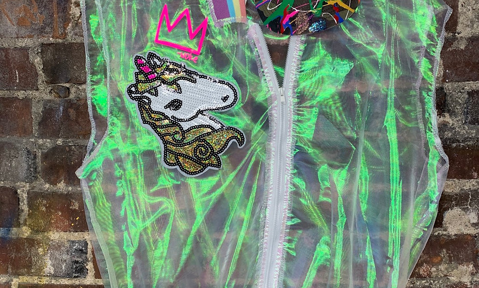 Unicorn Holographic Vest w/Hat