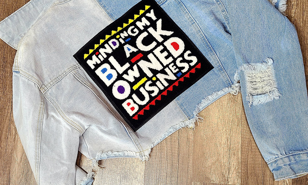 Minding My Black Owned Business Crop Denim