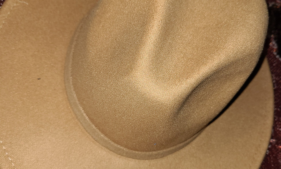 Tan Fedora Burgundy Bottom