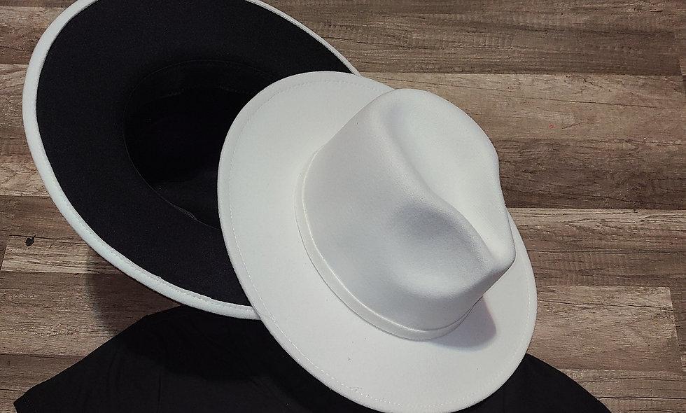 White Top Black Bottom Fedora