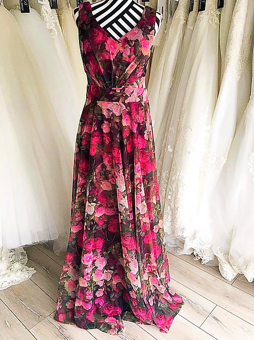 Rose Print Evening Dress
