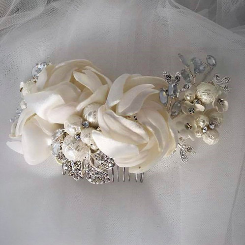 Silver Hair Comb with Rhinestones Pearls and White Rose Detail