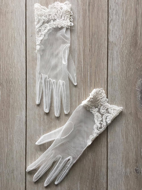 White Bridal Gloves with Lace