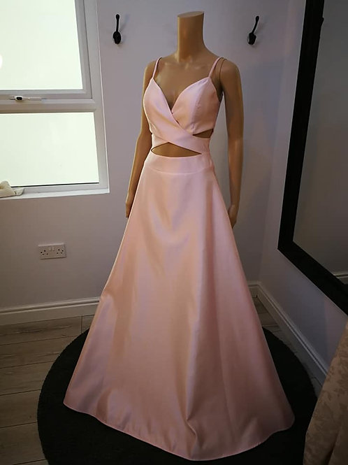 Satin Maxi A-Line Dress with Cut Out Front