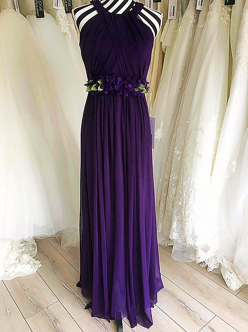 Draped Maxi Dress with Decorative Waistband