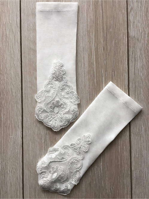 White Fingerless Bridal Gloves