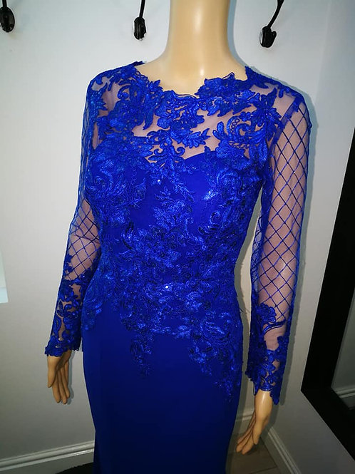 Blue Long Sleeve Lace Evening Dress