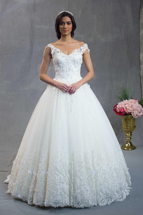 Ivory Princess Dress with Flowers