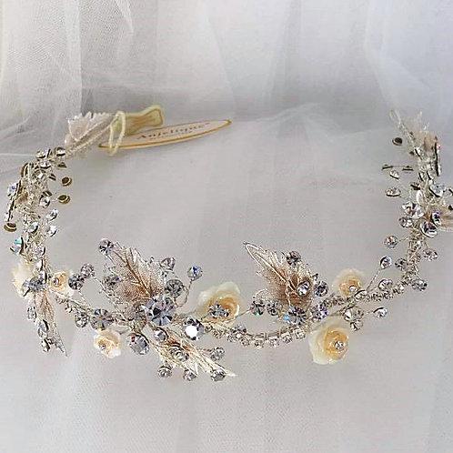 Vintage Tiara with Ivory Roses and Rhinestones