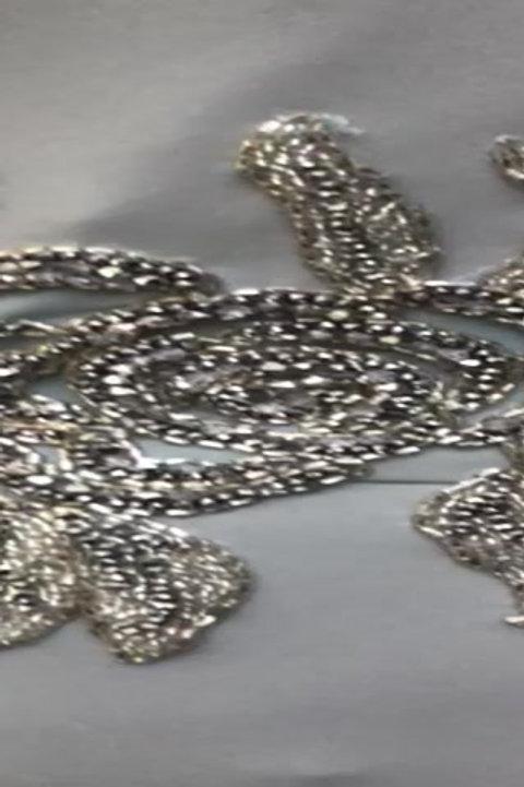 Close up of pale Grey 1850 Dress