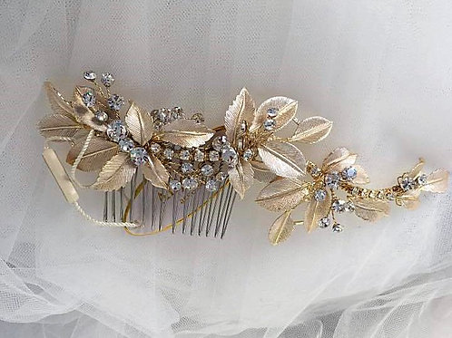 Golden Vintage Style Hair Comb with Rhinestones and Leaves