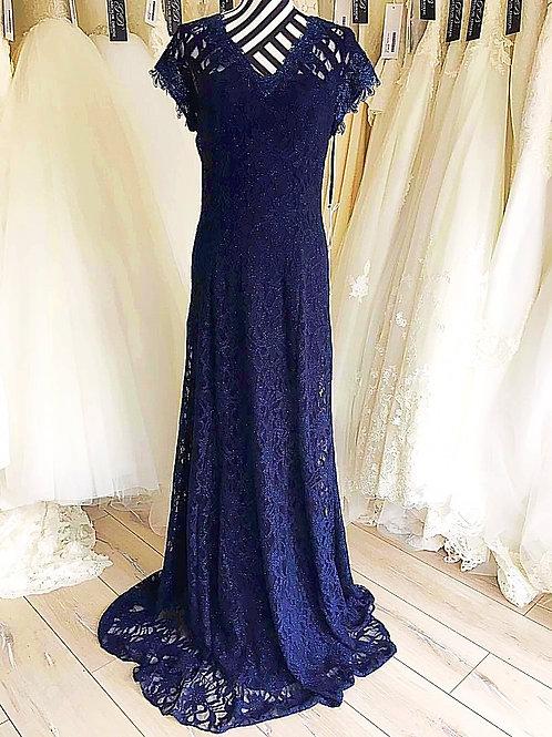 Dark Blue V-Neck Lace Maxi Dress