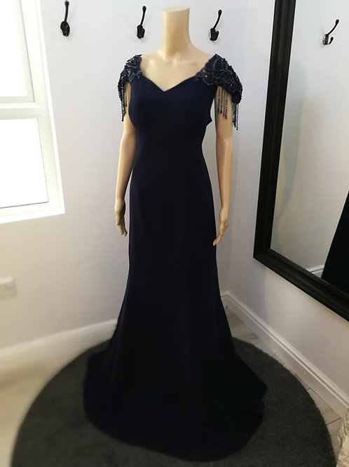 Navy Maxi Dress with Embellished Cup Sleeves
