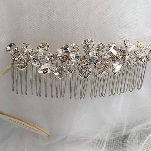 Silver Hair Comb with Rhinestones and Embellished Flowers