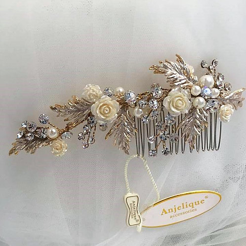 Golden Hair Comb with Ivory Roses