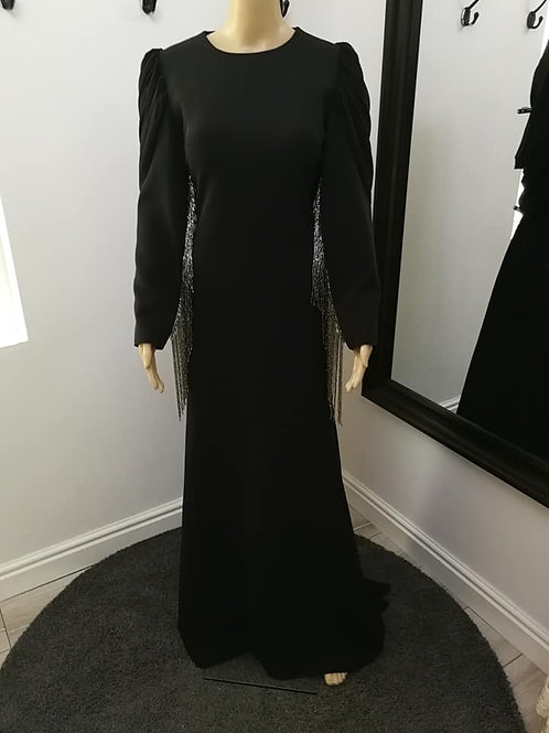 Black Evening Dress with Beaded Sleeves