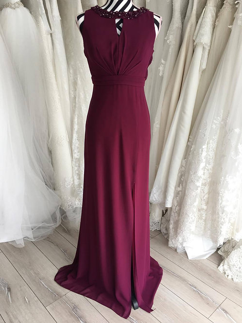 Claret colour beaded neckline, open back, Dress,size UK14