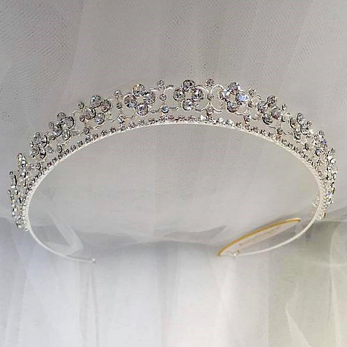 Silver Tiara with Rhinestones