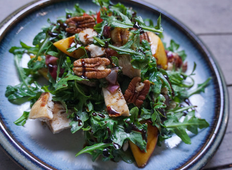 Charred Peach and Chicken Salad