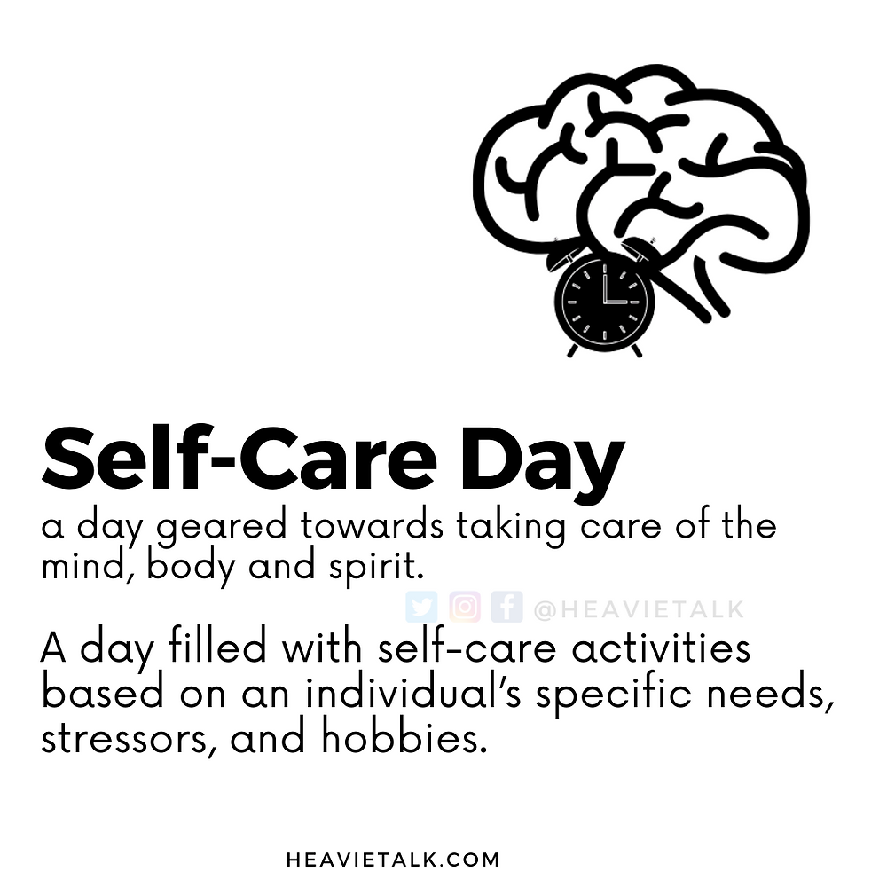 Self Care Day  is geared towards taking care of the mind, body and spirit.   A day filled with self-care activities based on an individual's specific needs, stressors, and hobbies.