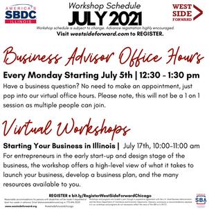 Client Event Flyer: July SBDC Workshop Schedule